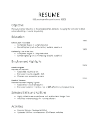 Resume Sample Template Free Download Examples Full Size Of