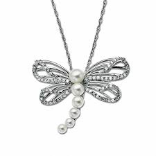 cultured freshwater pearl and 1 5 ct t w diamond dragonfly pendant in 10k white
