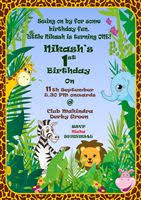 Jungle Theme Birthday Invitations Jungle Theme 1st Birthday Invitation For Jungle Safari Theme