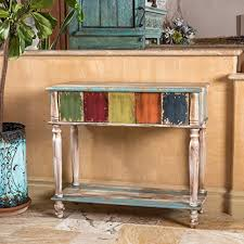 vintage console table. Leo Solid Wood 2 Drawer Console Table In Antique Weathered Multi-Color Style Vintage