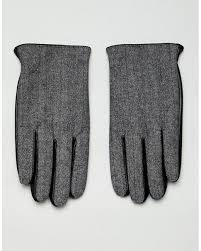 asos leather touchscreen gloves in black with herringbone detail for men lyst
