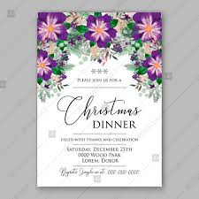 holiday party invitation template winter violet floral wreath illustration christmas party invitation