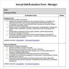 Self Evaluation Magnificent Job Performance Evaluation Form Metalrus