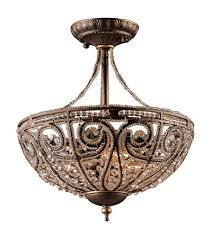 elk 5964 3 elizabethan 3 light 13 inch dark bronze semi flush mount ceiling light