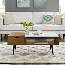 faux marble coffee table. Mid-Century Modern 42-inch Wood And Faux Marble Coffee Table