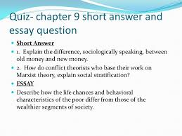 chapter social stratification ppt video online  quiz chapter 9 short answer and essay question