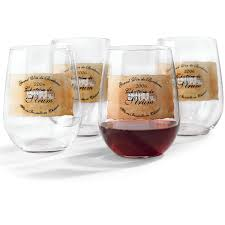 personalized estate stemless wine glasses set of 4