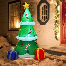 6 Ft Inflatable Christmas Tree With Gift Boxes Up Lighted Led Decoration Holiday