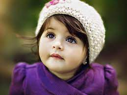 Cute Adorable Girl Baby Is Looking Up ...