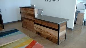 custom made reclaimed wood steel reception desk