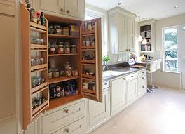 Handmade Kitchen Furniture Bat Wing Pantry Cabinet In Galley Kitchen Bespoke Small Kitchens