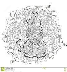 High Detail Patterned German Shepherd. Stock Vector - Image: 76093340