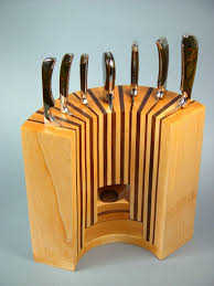 Kitchen, Inspiring Wooden Knife Block Design Ideas From Slot To Slot  Smallest And Most Simple