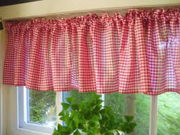red gingham kitchen café curtain unlined or with white or blackout lining in many custom lengths