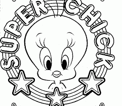 Small Picture coloring page of tweety with looney tunes characters tweety head