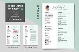 A4 Letter Creative Resume Templates Modern Resume Cv Etsy