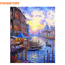 chenistory europe venice night diy painting by numbers abstract oil painting on canvas acrylic paint by