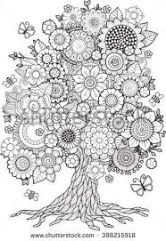 blossom tree vector elements coloring book for doodles for tation more