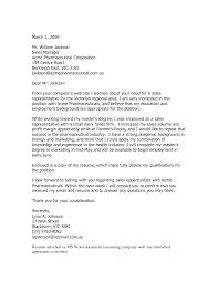 Pharmaceutical Sales Cover Letter Sample Pharmaceutical Sales