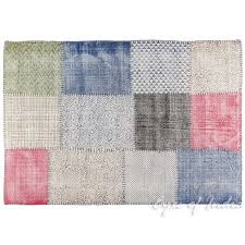 4 x 6 ft white colorful cotton print accent area dhurrie rug woven flat weave