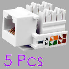 5x rj45 cat 5e network lan ethernet keystone jack socket wall end 5x rj45 cat 5e network lan ethernet keystone