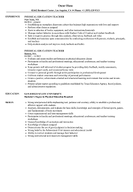 Physical Education Teacher Resume Samples Velvet Jobs New S