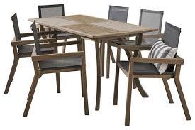 acacia wood dining set with mesh seats