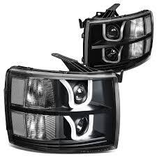 13 Chevy Silverado Dual LED U-Halo Projector Headlight - Black / Clear
