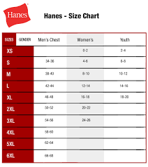 Hanes Size Chart Size Chart Hanes