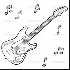 good electric guitar sketch with guitar coloring page ...