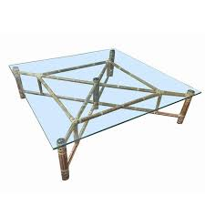 Large Bamboo And Glass Square Coffee Table By John McGuire 1