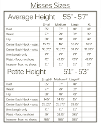 Misses Size Chart Size Chart