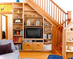shelves tv rack under stairs