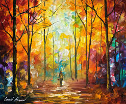 1 hour lesson of leonid afremov painting a autumn landscape in form