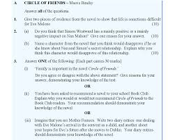 leaving certificate english text circle of friends studyclix 2016 paper two > section 1 > question a