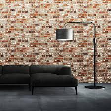 muriva just like it loft brick faux red brick wall stone effect blown vinyl wallpaper j71408