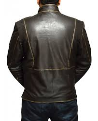 faded zipper brown leather jacket