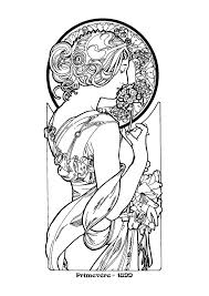 Alphonse Mucha Coloring Pages Nouveau Mucha