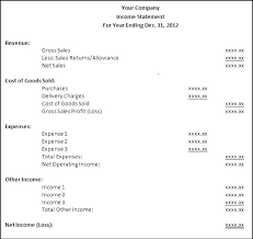 Simple Income Statement Basic Income Statement Template