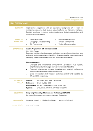 Programmer Cv Template Doc Mainframe Resume Objective Analyst