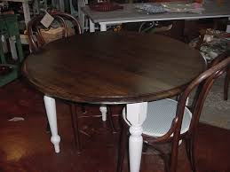 42 round drop leaf table stained top distressed cottage white legs