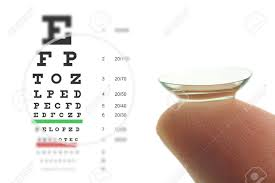 Contact Lens On Finger And Snellen Eye Chart Concept Sharp Vision