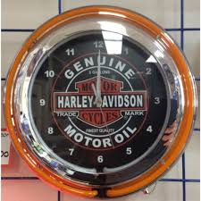 harley davidson motor oil double neon wall clock