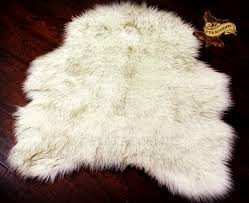 wolf area rug faux fur off white brown tips accent carpet