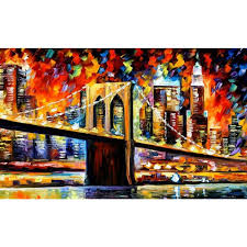 modern paintings cityscapes brooklyn bridge palette knife oil art on canvas nyc pictures for living room