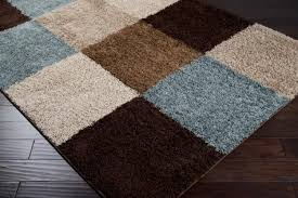 blue tan and brown area rug as gray