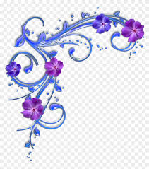 purple flower clipart flower border purple and blue flowers clipart 95242