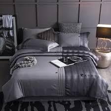 grey brown color stripe modern bedding