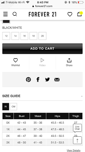 Forever 21 Chart Size