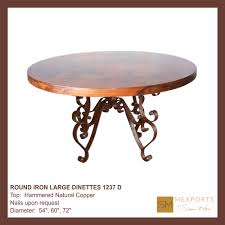 Copper Top Kitchen Table 02 Round Wood Dinette Hammered Oxidized Copper Top Mod 1203 D